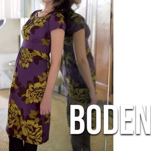 BODEN S 6 Purple yellow Sheath Floral Dress Selina